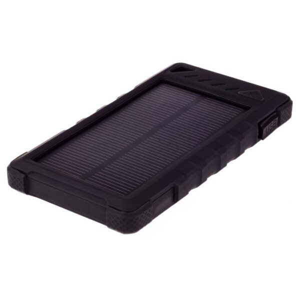 GreyLime Power Solar, 8000 mAh solcelle powerbank, Sort